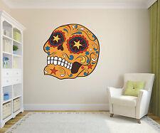 Bright Orange star eyes Sugar Skull Day of the Dead wall sticker ss13