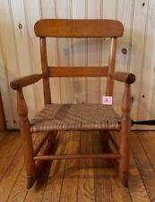Antique Wood Folk Country Shaker Childs Rocking Chair Rocker Nice Woven Seat A
