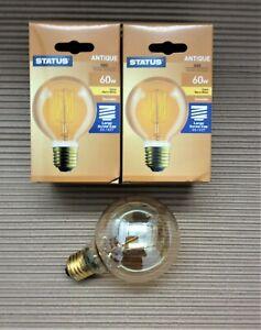 Pack of 2 60w Watt Lamps E27 Edison Screw Round Golden Antique Retro Light Bulb