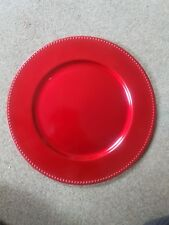 Red beaded CHARGER PLATE plastic dinner plate wedding party christmas