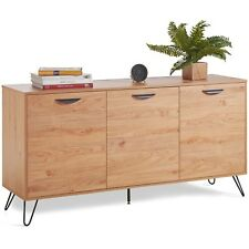 VonHaus Sideboard 3 Door Oak Effect Living Room Storage Unit Organiser Cupboard