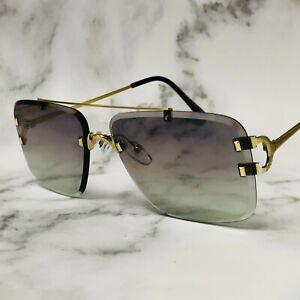 Green Lens Rectangular Gold Frame Luxury Frame Rimless Hip Hop Summer Sunglasses