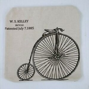 Bike Bicycle Accent Pillow Cover Case Patent 1885 W S Kelley Beige & Black 17x17