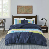 MODERN SOFT BLUE TEAL AQUA NAVY GREEN GREY STRIPE COMFORTER SET FULL QUEEN SIZE