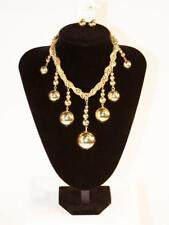 "SHAMROCK 16"" Goldtone Hanging Beads Necklace & Earrings Set Fashion Jewelry jxbw"