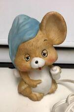 Vintage 1980's Josef Sleepy Baby Mouse Blue Hat Ceramic Night Lamp 6�