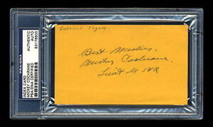MICKEY COCHRANE SIGNED MINT INDEX CARD PSA/DNA SLABBED AUTOGRAPHED HOF WWII