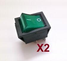2 X Interruptor Basculante Bipolar - Luminoso - 16A - 250V - Tecla Verde