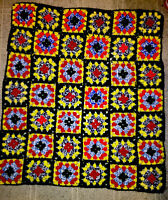 Granny Square Handmade  38 X40 Crochet Afghan Throw size Quilt Blanket Roseanne