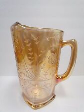 Jeanette Louisa Iridescent Carnival Glass Pitcher Orange Gold 64oz ~ Beautiful