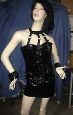 GOTHIC BLACK PVC CORSET, MINI SKIRT AND CUFFS WITH BUCKLES :SIZE LARGE