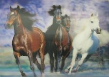 Poster Print 3d picture of four free-roaming mustangs, great for Home Decor H095