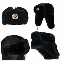 MENS RUSSIAN MILITARY FAUX FUR USHANKA WARM WINTER BLACK TRAPPER HAT