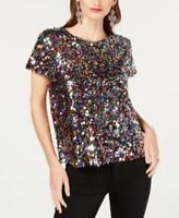INC Womens Multi colored Sequined T-Shirt Sz L $59.5 TINI {&}