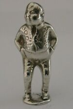 RARE ENGLISH SOLID SILVER FAT BOY DICKENS PIPE TAMPER 1908 ANTIQUE PICKWICK