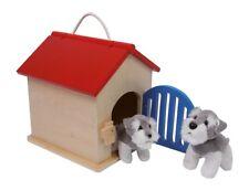 Casetta-canile in legno con accessori ed animali di stoffa, gioco per bambini