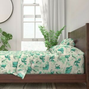 Dragon Mythical Creature Turquoise 100% Cotton Sateen Sheet Set by Roostery