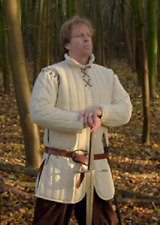 Medieval Viking Renaissance White Color Gambeson Thick Padded Armor Reenactment