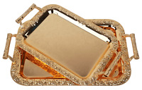 Set of 2 Elegant Rectangular Gold Stainless Steel serving tray with handles