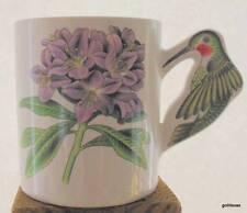 """Vintage Hummingbird and Flower Mug 3.75"""" Ceramic"""