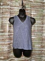 Size M | Sigrid Olsen Sleeveless Linen V Neck Top Blue