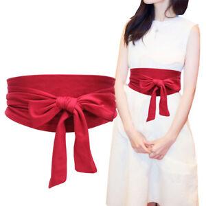 Women Bowknot Velvet Self Tie Wrap Around Obi Waist Band Cinch Boho Dress Belt
