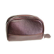 Small Brown Leather Travel Wash Bag from Parker Safety Razors