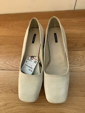 Zara Ladies Suede Shoes Size 41 10 Off-White Ivory Cream NEW NWT Chunky Heel