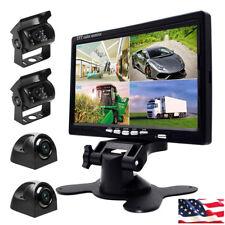 "4x Car Rear View Front Side Reversing Cameras + 7"" Quad Split Monitor For RV Bus"
