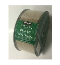 Kirkland Signature Wire Edged Brown Burlap Sparkly Ribbon 50 yards 2.5 inches