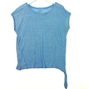 Loft ann taylor striped short sleeve side tie tee size large blue white