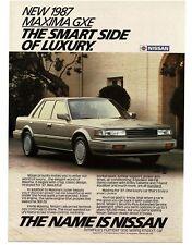 1987 Nissan MAXIMA GXE Silver 4-door Sedan VTG PRINT AD