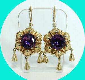 13.50CT purple sapphire chandelier drop earrings 14K YG solitaire round 22.2 GM