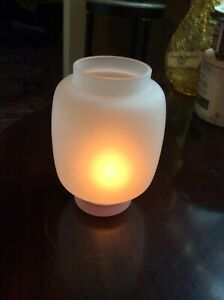 """Modern Warm White Frosted Glass Tealight Holder, 5"""" X 3"""" Mint Condition"""