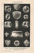 B0087 Diamanti - Xilografia d'epoca - 1901 Vintage engraving