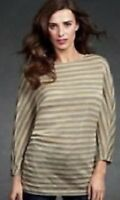 CAbi Womens Polish Tee Knit Top Beige Gray Stripes Dolman Sleeves Size Small
