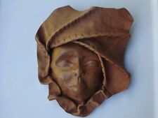 Africa Tribal Leather Face Hand Sculptured Wall Art Decorative Mask