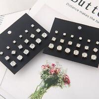 Fashion Men Women Elegant Rhinestone Crystal Jewelry Ear Stud Earrings 9 Pairs