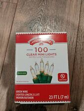 2 Boxes Holiday Time 100 Clear Mini Lights Green Wire Indoor/Outdoor 23' Strings
