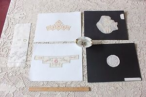 5 Antique Swiss Hand Embroidered & Applique Samples c1880-1920s~Dolls,Crafts