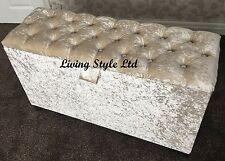 Cream,Crush Velvet Fabric  Diamond Ottoman Storage Box & Seating Area 30''