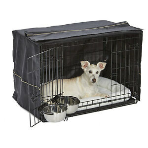 MidWest Homes For Pets iCrate Medium Dog Bed Crate Kennel Kit with Cover, Black