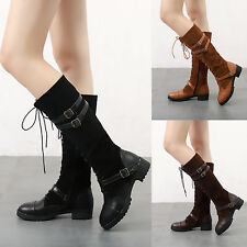 Women Boots Lace Up Side Zip Knee High Mid Calf Boots Combat Military Flat Shoes