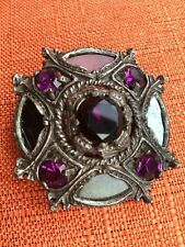 Vintage Miracle Brooch, Scottish Celtic shield, Glass Amethyst & Agate, signed