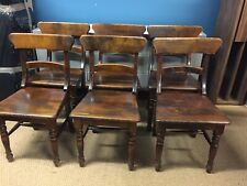 More details for set of 6 antique bar back chairs