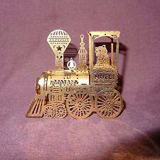 "Vintage Train NOEL Teddy Bear Gold Tone Brass Metal Christmas Ornament 2"""