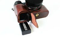Leather Half Camera Case bag for Sony A7 A7R A7S Bottom Open black brown coffee