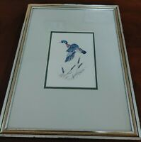 Nancy Shumaker Pallan Wood Duck 1982 Lithograph Print Double signed matted frame