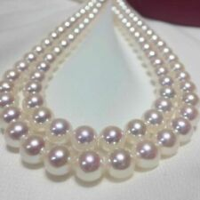 "AAAA Japanese Akoya 7-8mm white pearl Necklace 36"" 14K white Gold Clasp"