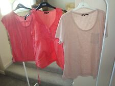 3 x TOPS BLOUSE  - ORANGE-RED-NUDE LADIES SIZE 12